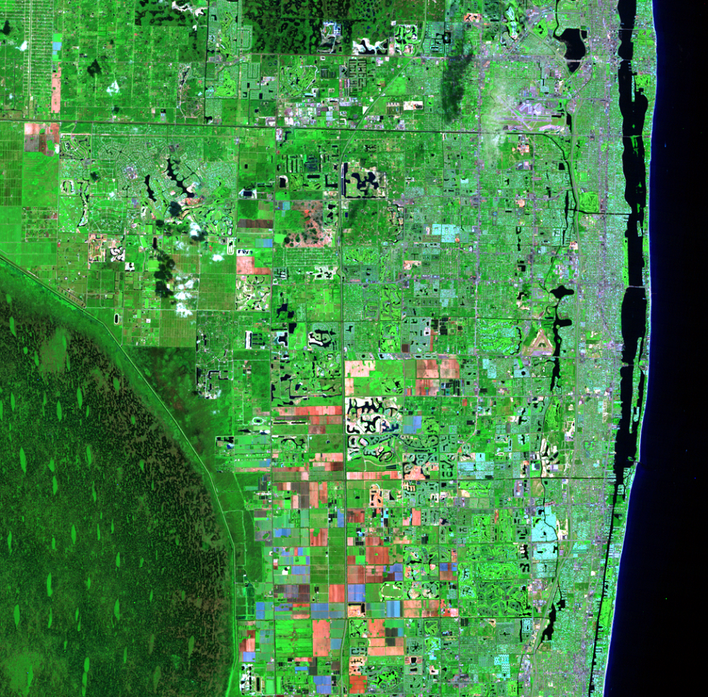 Oct. 15, 1990, Landsat 5 (path/row 15/42) — Residential suburban areas north of Miami, Florida, USA