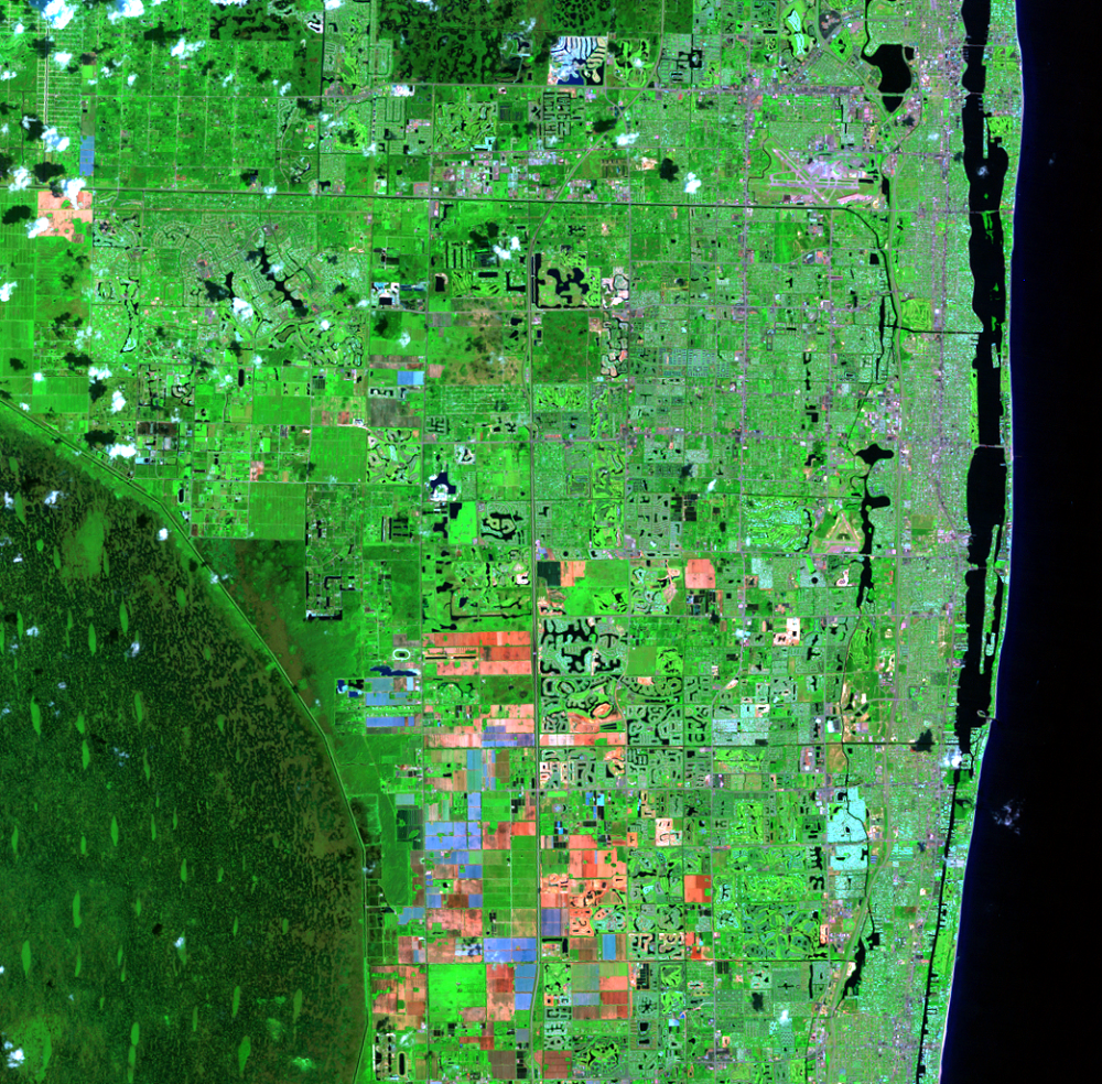 Sep. 13, 1996, Landsat 5 (path/row 15/42) — Residential suburban areas north of Miami, Florida, USA