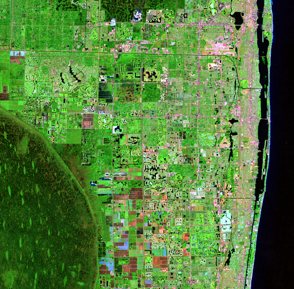 Nov. 6, 1998, Landsat 5 (path/row 15/42) — Residential suburban areas north of Miami, Florida, USA