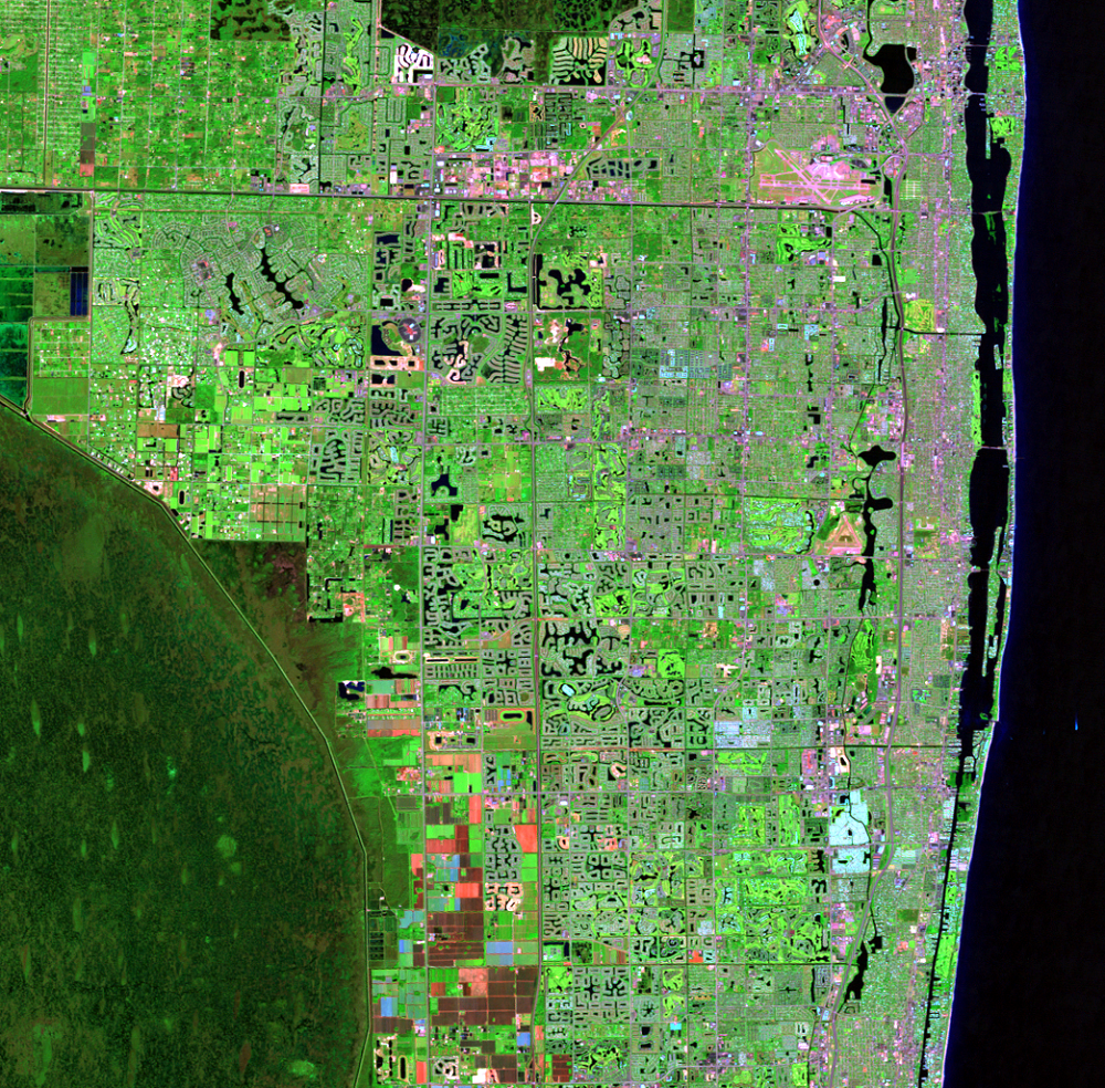 Nov. 17, 2008, Landsat 5 (path/row 15/42) — Residential suburban areas north of Miami, Florida, USA