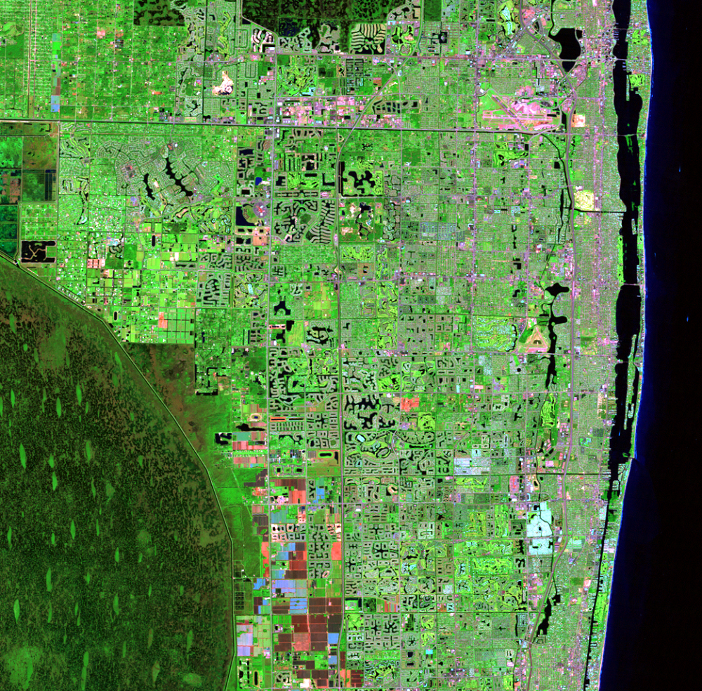 Nov. 10, 2011, Landsat 5 (path/row 15/42) — Residential suburban areas north of Miami, Florida, USA