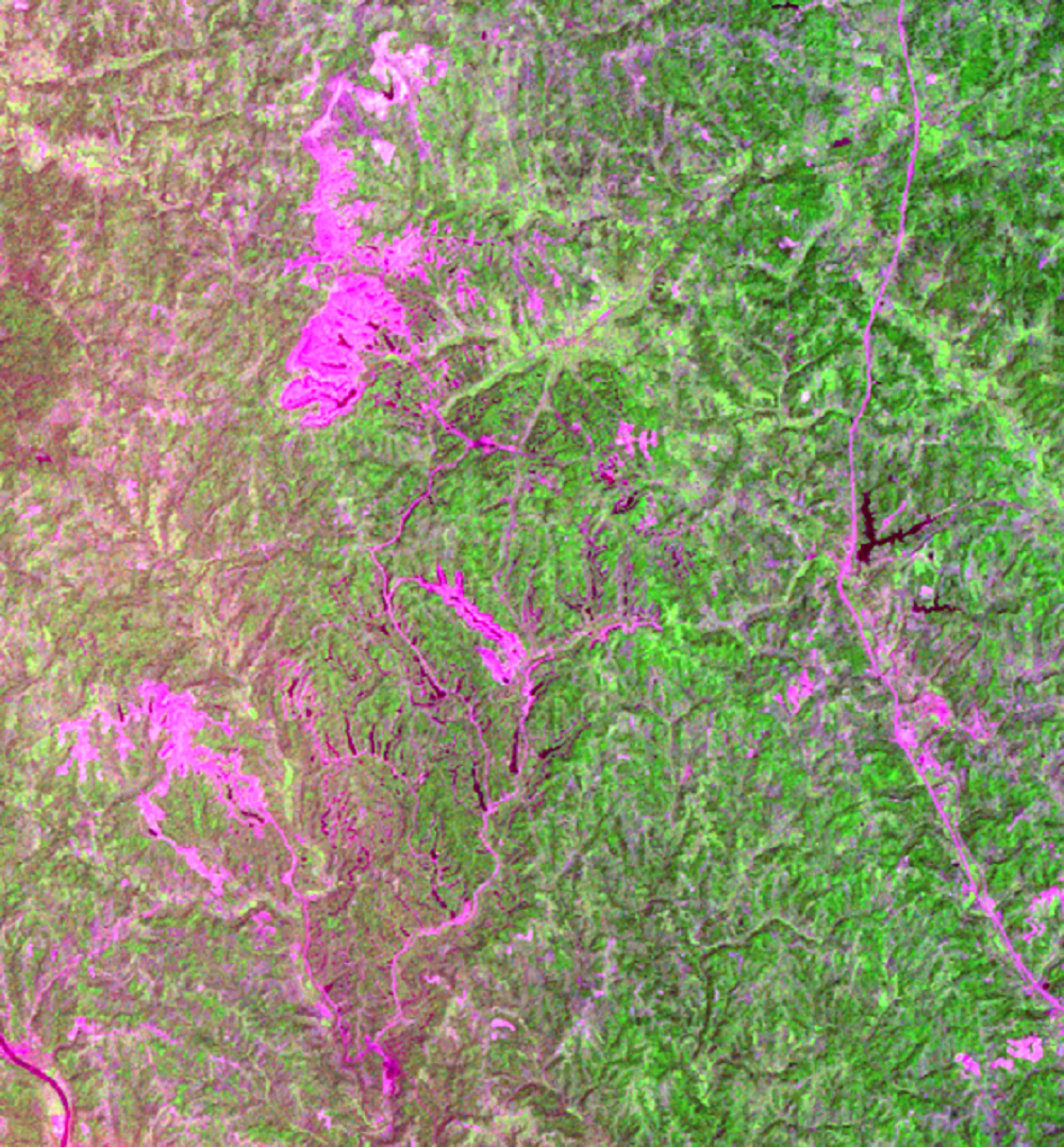 Sept. 3, 1973, Landsat 1 (path/row 19/32) — Close up of Muskingum Mines, Ohio, USA