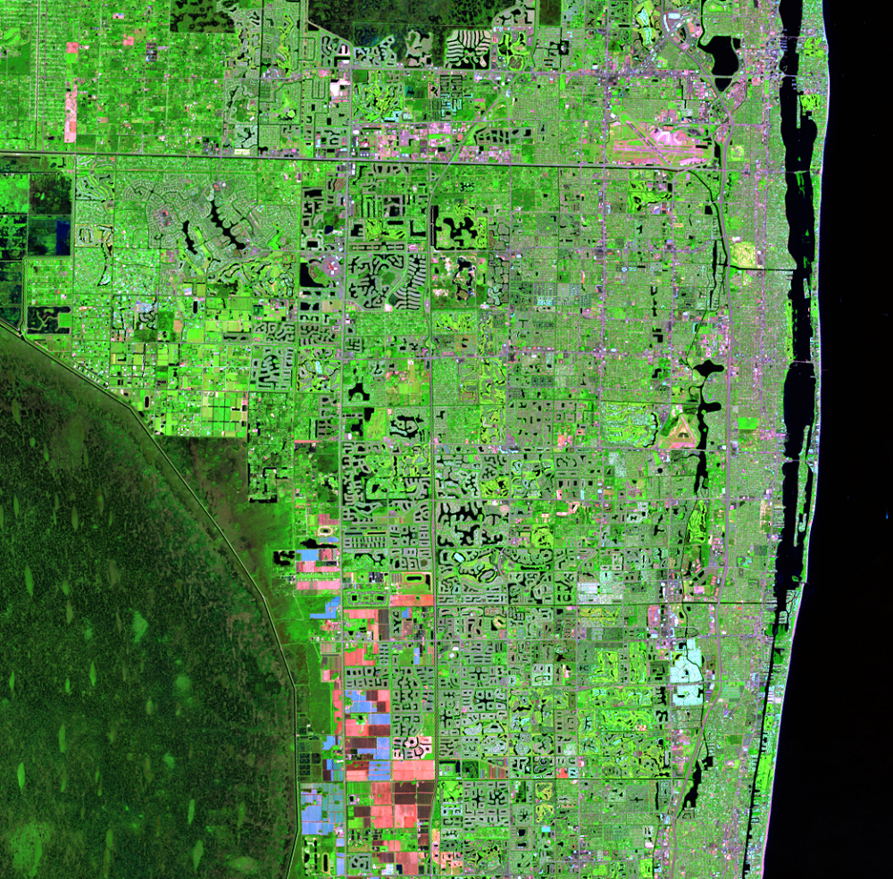 Oct. 17, 2014, Landsat 8 (path/row 15/42) — Residential suburban areas north of Miami, Florida, USA