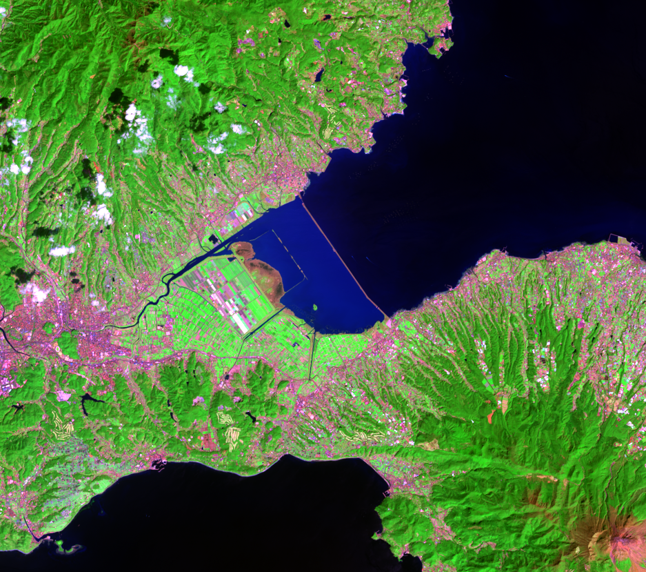 Mar. 25, 2021, Landsat 8 (path/row 113/37) — Isahaya Bay, Japan