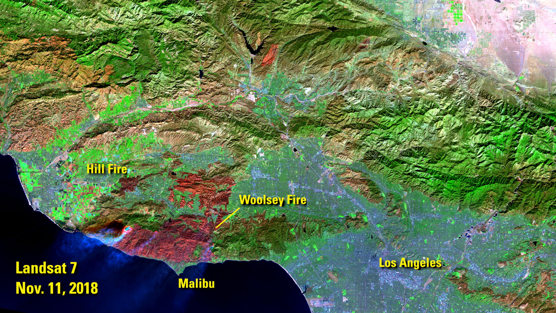Landsat 7 image of Malibu, California
