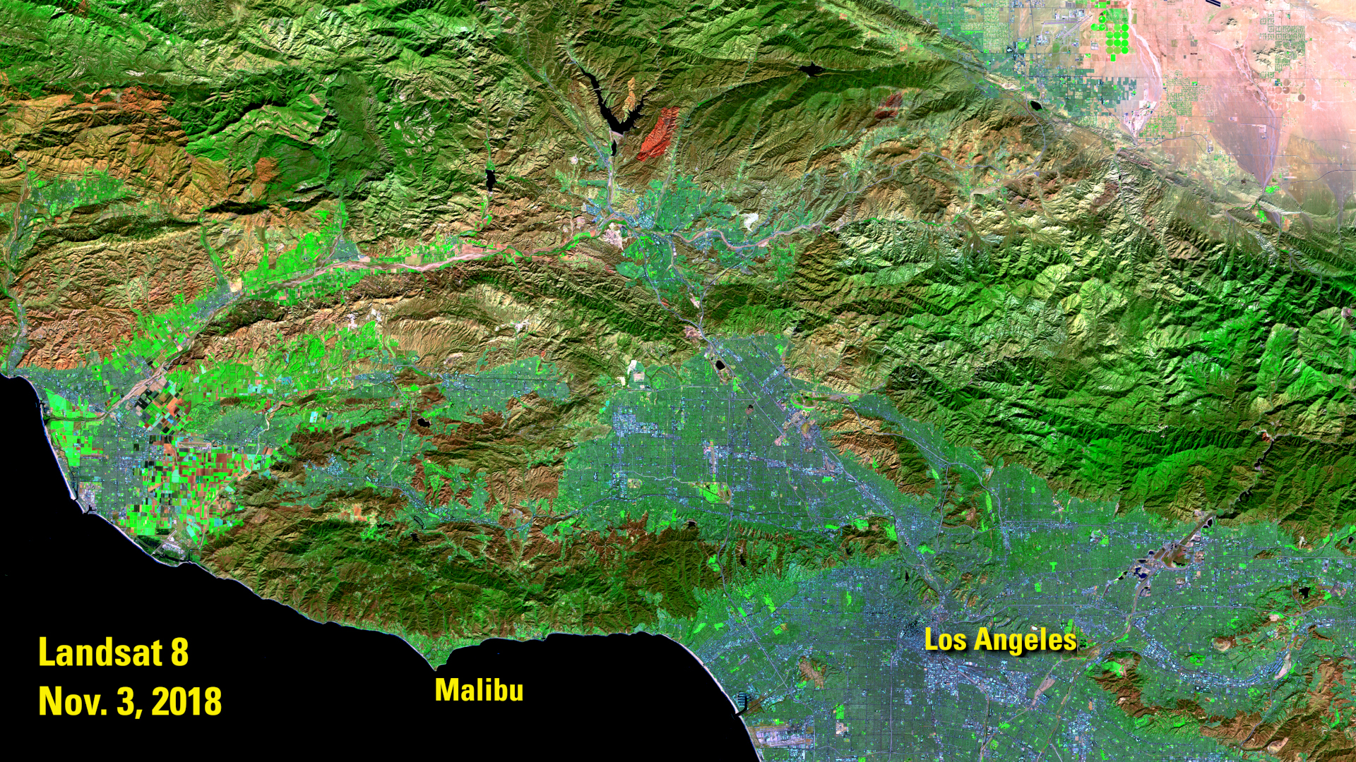 Landsat 8 image of Malibu, California