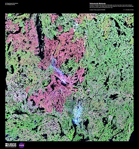 Wetlands represented by pink and green. It is heavily grooved with black.