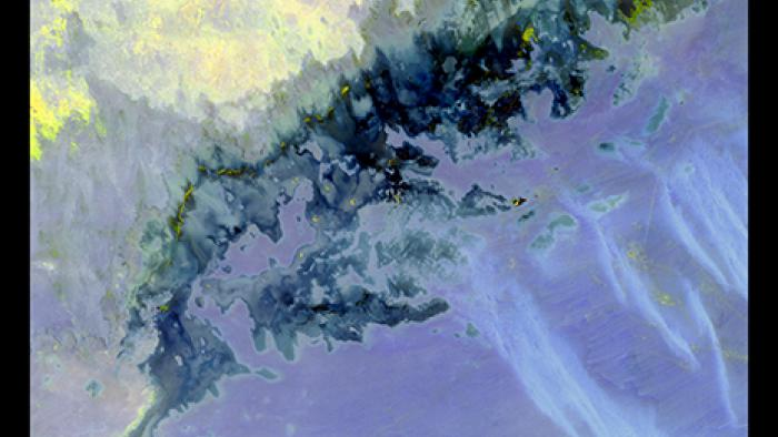 This Landsat image looks like a bold watercolor. Yellow dances across the darkness with muted violet underneath.