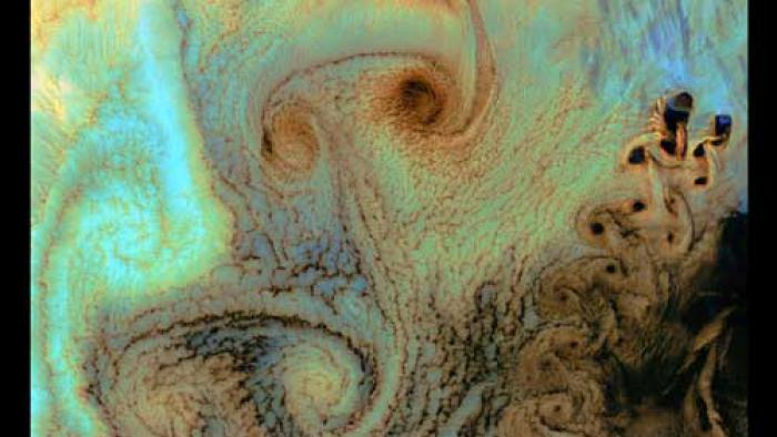 Karman Vortices formed in the brown, blue, green, and orange clouds.