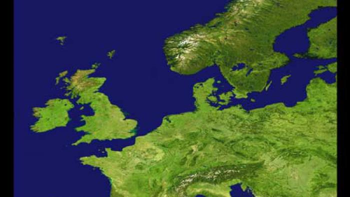Europe's land shown with bright greens and the surrounding blue water