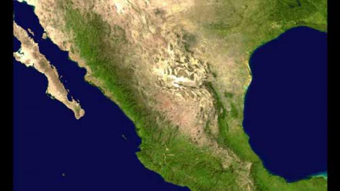 Satellite Imagery of Mexico. The southern half is greener while the top half is browner.