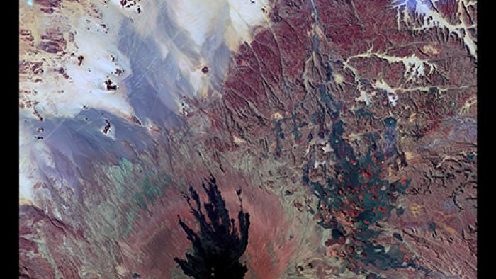 A volcanic landscape in the Tibesti Mountains of Chad shows some mysterious shapes.