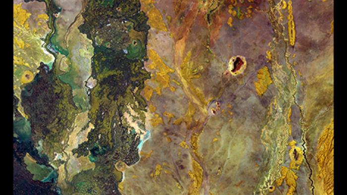 Green shades seem to be bubbling up like a lava lamp on the left side of this image from northeastern Kenya.