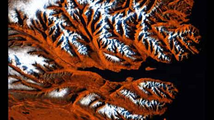 Orange, black, and white stripes form branching mountains next to black waters.