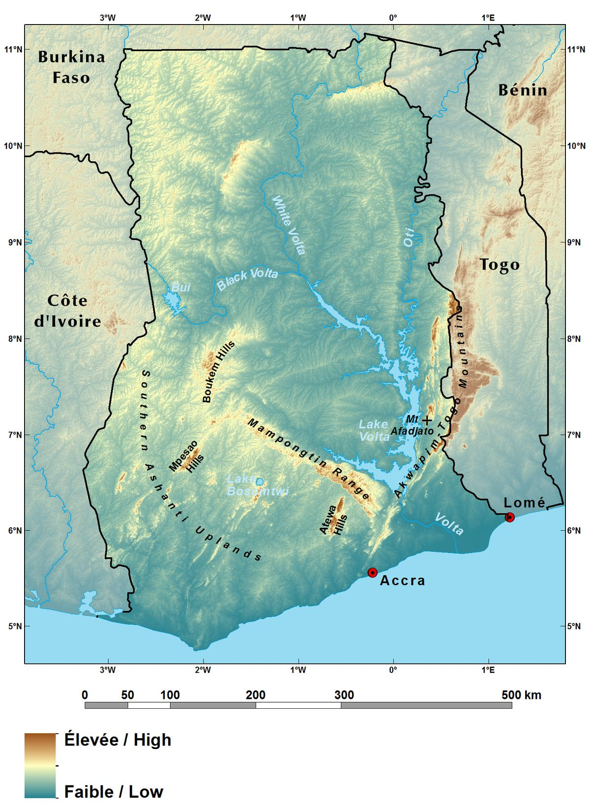 Ecoregions and Topography of Ghana West Africa