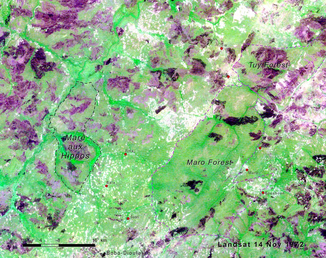 The Mare aux Hippopotames National Park and Biosphere Reserve circa 1975 Landsat