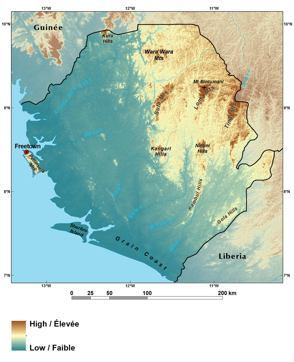 Ecoregions And Topography Of Sierra Leone West Africa - Sierra leone map