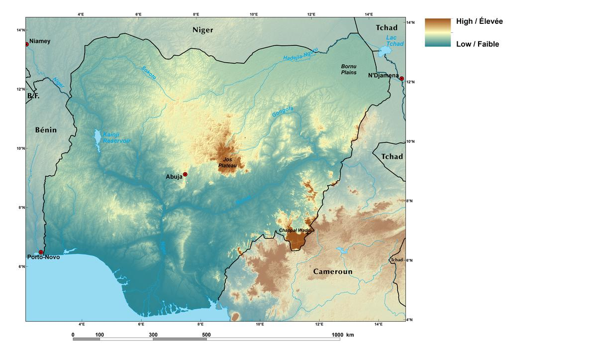 Ecoregions and topography of nigeria west africa relief map of nigeria gumiabroncs Image collections