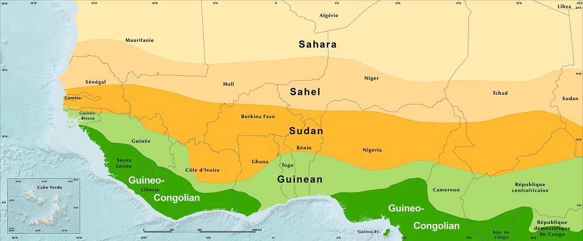 sahel map of africa Bioclimatic Regions Map West Africa