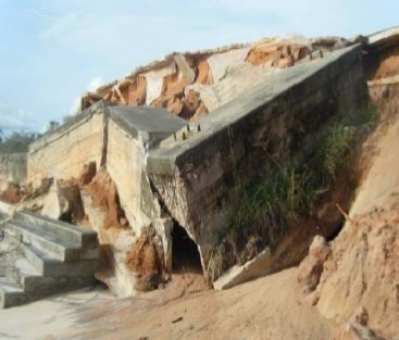 Coastal erosion in northwestern guinea bissau west africa crumbling foundations of a tourist resort on the beach i niang thecheapjerseys Image collections