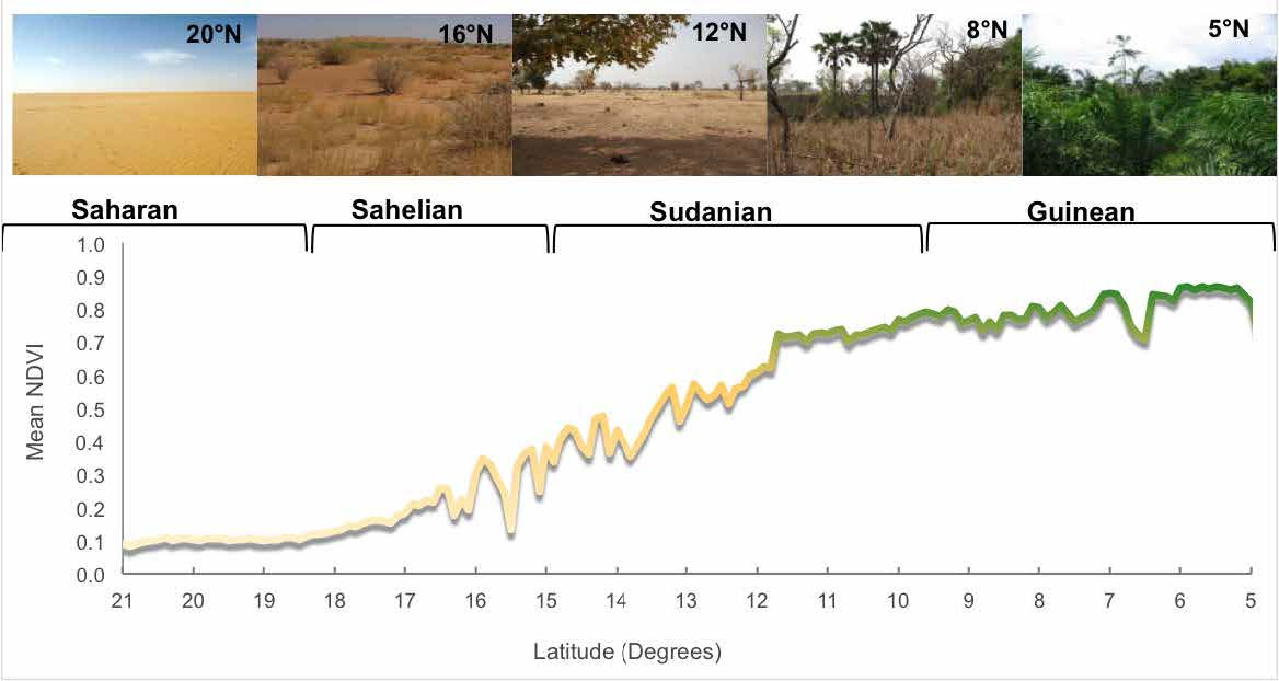 Longitudinal cross-section of West Africa showing land productivity gradient