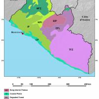 Ecoregions map of Liberia