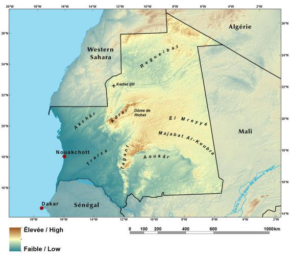 Relief map of Mauritania