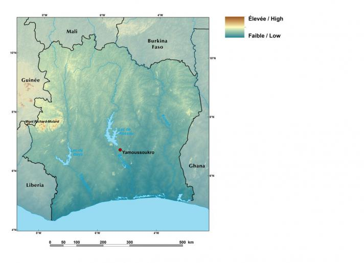 Relief map of Côte d'Ivoire