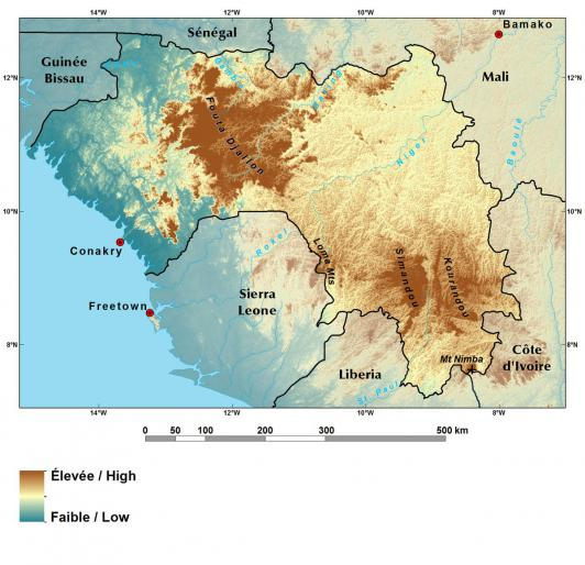Relief map of Guinea
