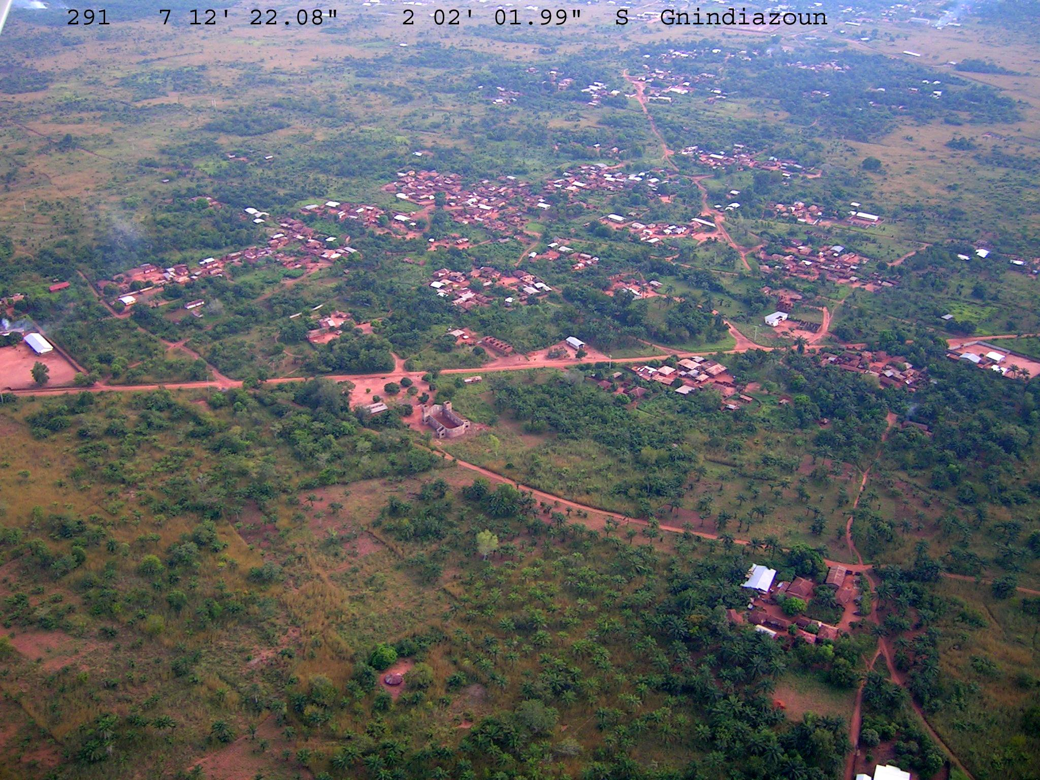 Aerial view of growing rural settlements in southern Benin © Gray Tappan/USGS