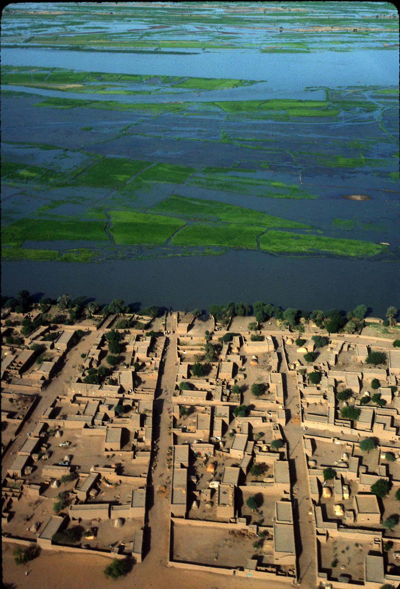 Aerial view of Gao along the Niver River