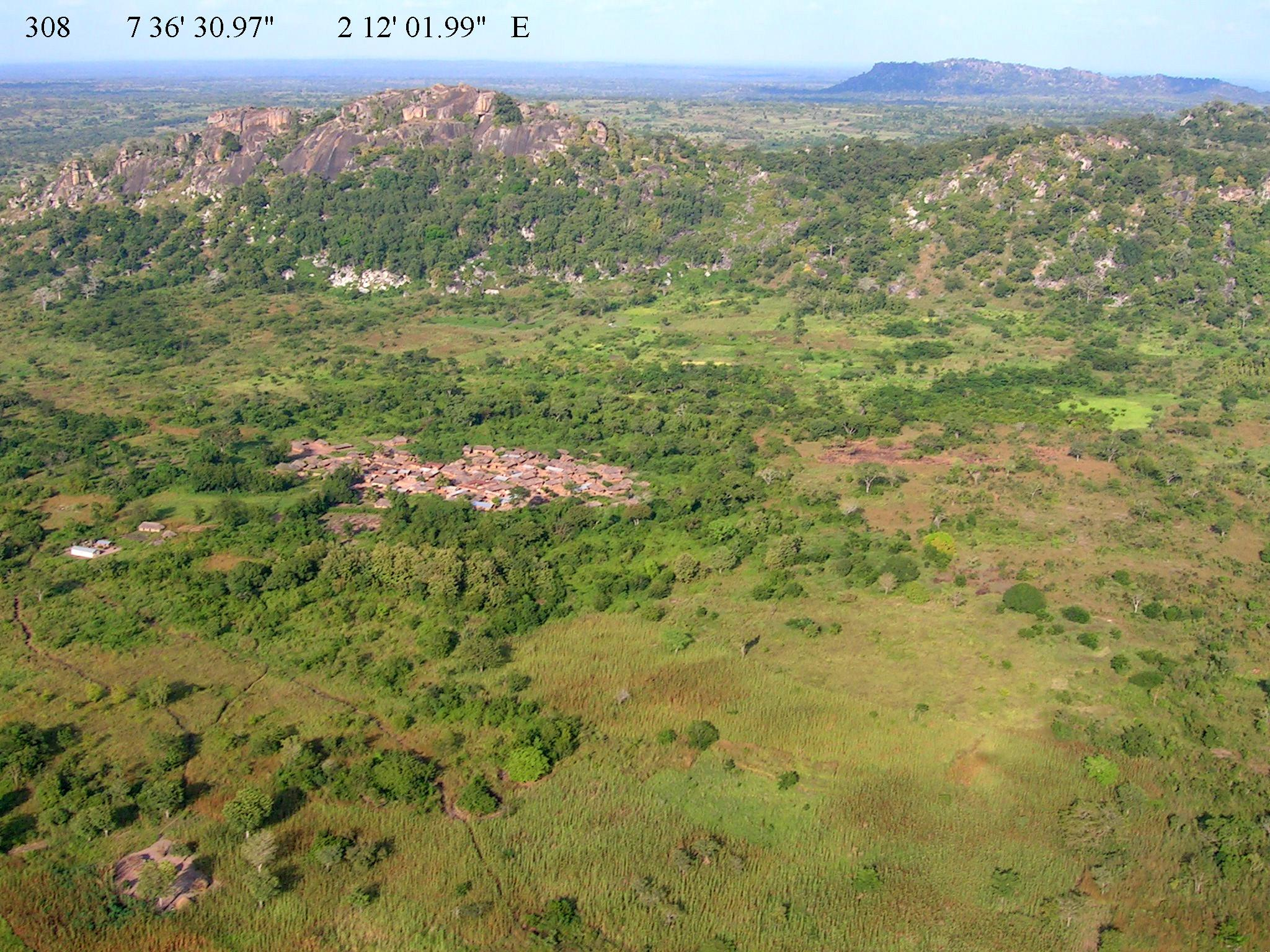 Aerial view of rural settlements in southern Benin  © Gray Tappan/USGS