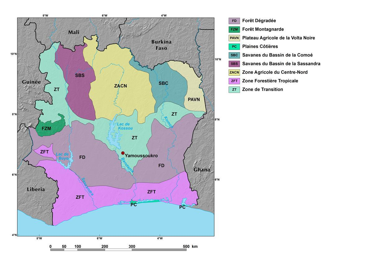 Ecoregions And Topography Of Cote D Ivoire West Africa
