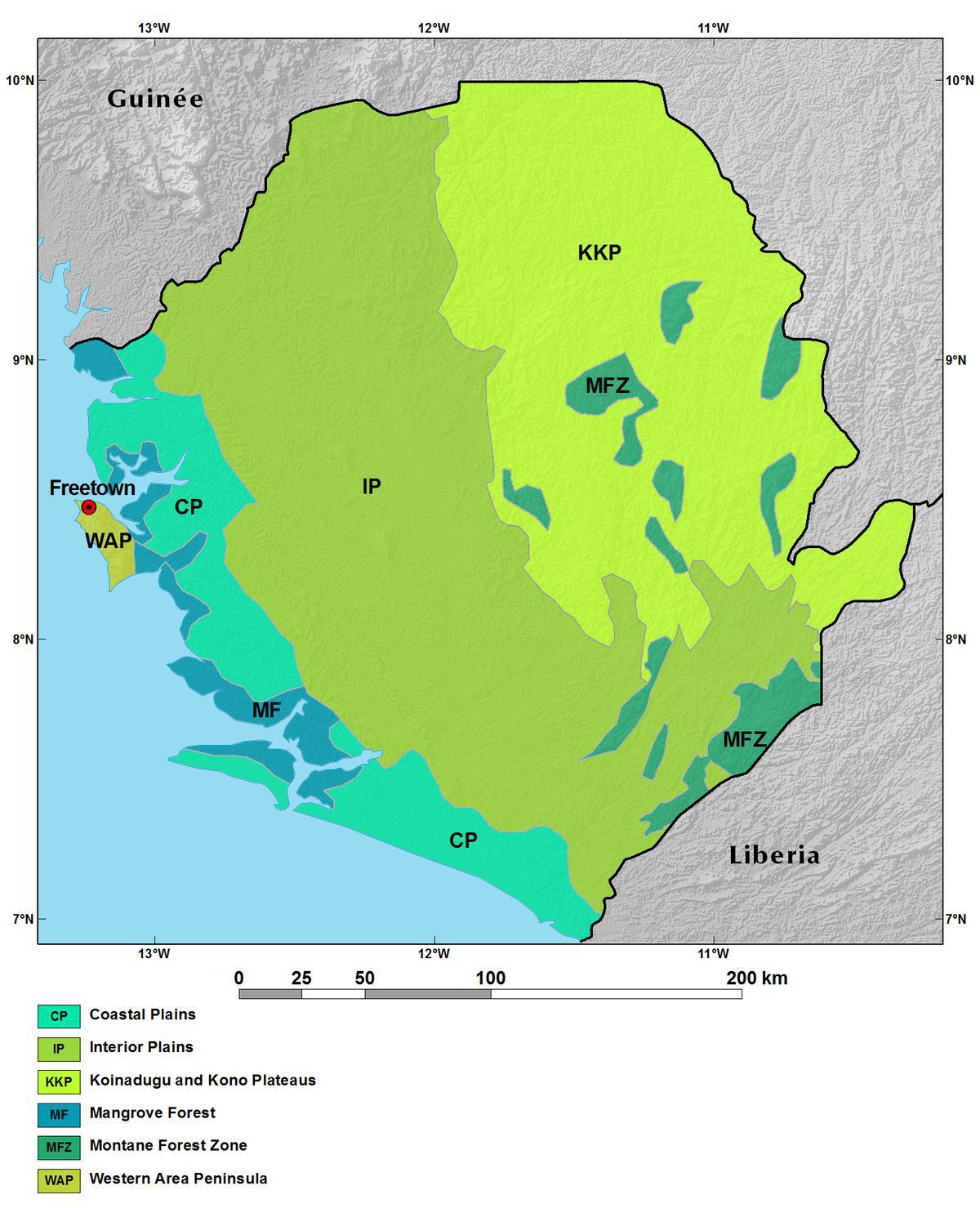 Ecoregions and Topography of Sierra Leone West Africa