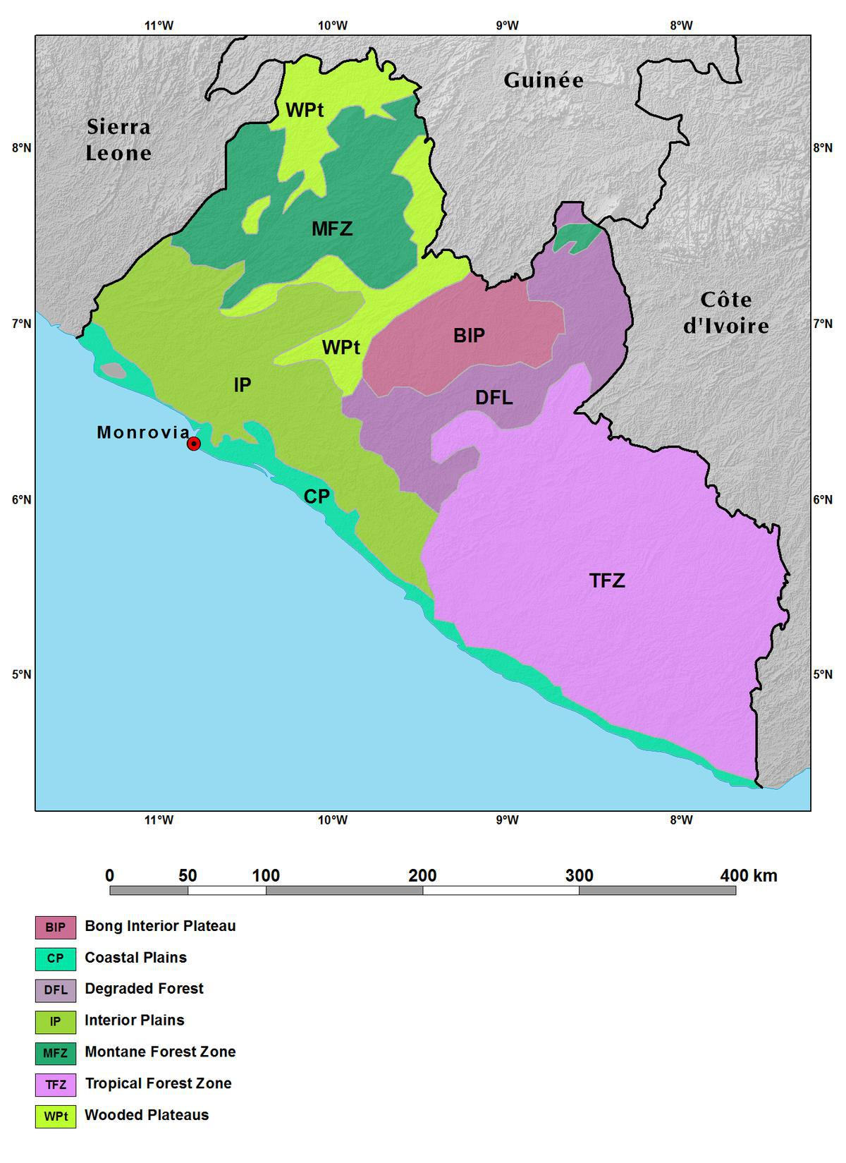 Ecoregions And Topography Of Liberia West Africa