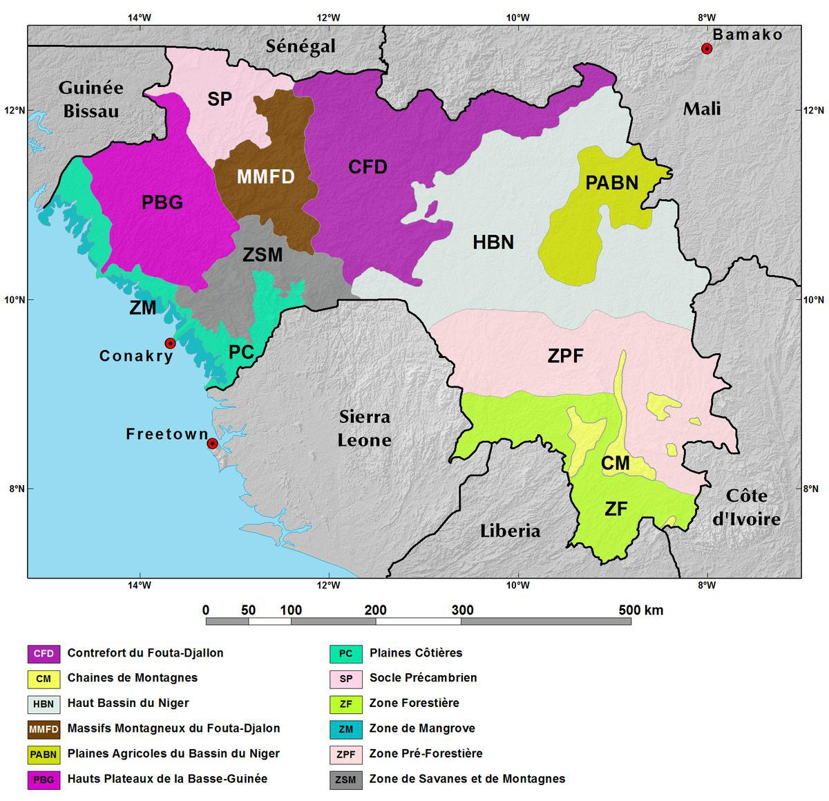 Ecoregions and Topography of Guinea West Africa