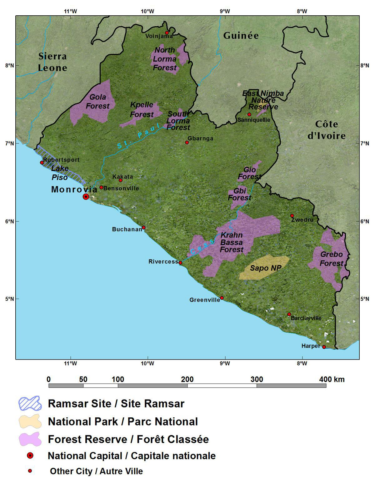 The republic of liberia west africa general reference map of liberia gumiabroncs Images
